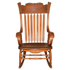 Victorian Press Back Rolled Arm Office Rocking Chair – Extra Large