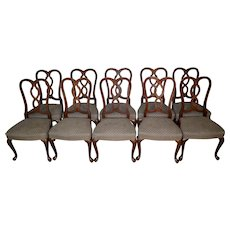 Set of 10 Mahogany Pretzel Back Chippendale Chairs