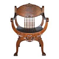 Tiger Sawn Oak Barrell Seat Arm Chair Carved
