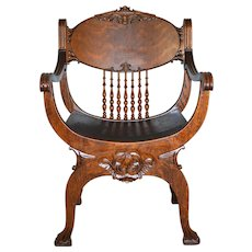 Tiger Sawn Oak Barrell Seat Arm Chair Carved