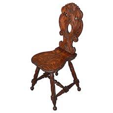 Victorian Heavily Carved Oak Ladies Desk Chair