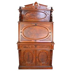 Victorian Burl Walnut Four Oval Panel Secretary