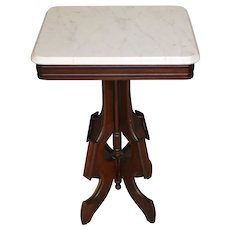 Victorian Marble Top Nightstand Parlor Stand