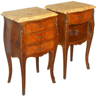 Pair of Inlaid Marble Top Victorian End Tables