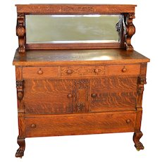 Oak Winged Griffin Mirror Sideboard w/ Lion Heads & Claw Feet Horner Style