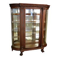 Carved Oak Victorian Large Curved Glass China Closet
