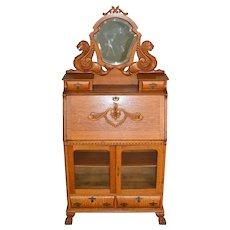 Rare Oak Carved Slant Top Desk – Heinz 57 Model