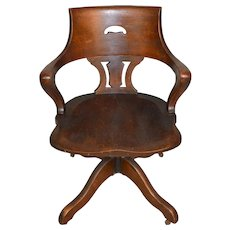 Oak Unusual Lawyers Swivel and Tilt Victorian Office Chair