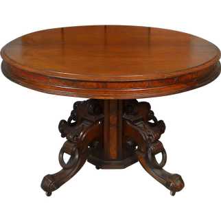 Victorian Burl Walnut Banquet Table -Most Unusual Base