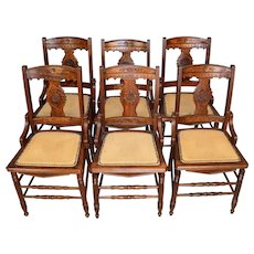 Set of 6 walnut Victorian Dining Chairs Burl