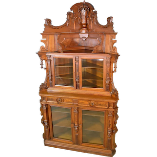 Victorian Rare Burl Walnut Corner China Closet