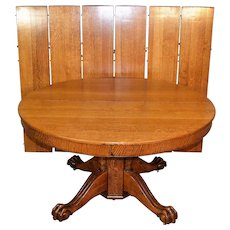 Victorian Oak Claw Foot Banquet Table – 6 Leaves