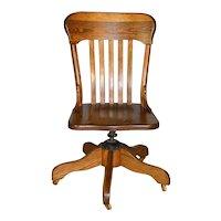 Oak Ladies Swivel Tilt Office Chair
