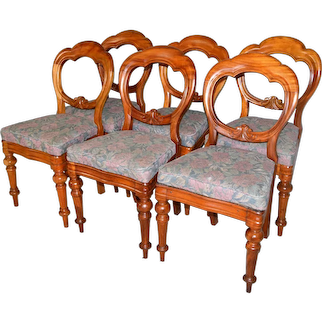 Set of 6 French Balloon Back Dining Chairs