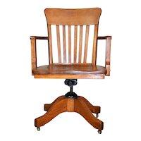 Oak Office Lawyers Swivel Tilt Chair