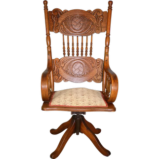Victorian Oak Lawyers Office Chair by Larkin