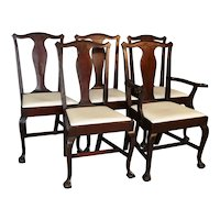 Set of 5 Mahogany Ball and Claw Dining Chairs