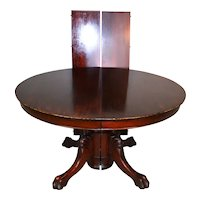 Round Mahogany Claw Foot Dining Table – 52 Inches w/2 leaves