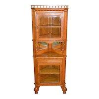 Victorian Oak Dainty Corner China Closet