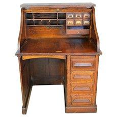 Victorian Oak Raised Panel Roll Top Desk by Gunn
