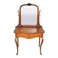 Victorian Oak Carved Ladies Bevel Mirror Vanity