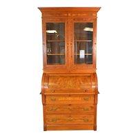Victorian Burl Walnut Raised Panel Secretary Bookcase Desk