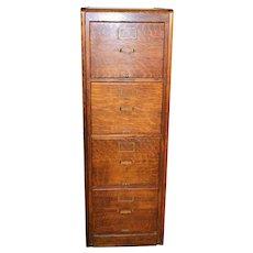 Oak Four Drawer File Cabinet