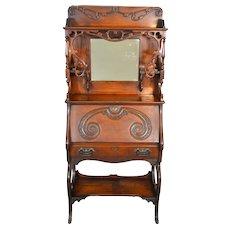 Oak Super Carved Cowgirl Slant Top Secretary Desk