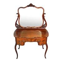 Mahogany Victorian Ladies Bevel Glass Vanity