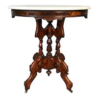 Antique Victorian Oval Marble Top Table