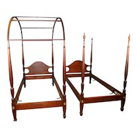 Pair of Twin Mahogany Pencil Post Canopy Beds