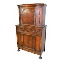 Oak Jacobean Carved Bar Cabinet