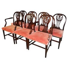 Set of 7 Mahogany Formal Chairs – Twin Arms!