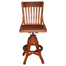 Oak Tall Postmaster / Agent Swivel Desk Chair