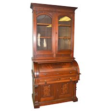 Victorian Burl Walnut Cylinder Secretary Desk