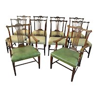 Set of 10 Solid Mahogany Formal Dining Chairs