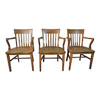 Set of 3 Oak Conference Chairs