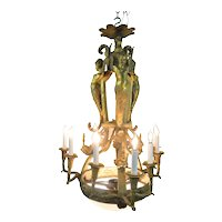 Outstanding Cast Brass Neo-Classical Chandelier