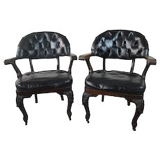 Pair of Mahogany Carved Arm Chairs with Leather