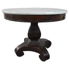 Empire Mahogany Marble Top Round Center Table
