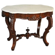 Victorian Marble Top Turtle Top Carved Parlor Stand