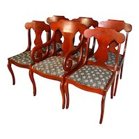 Set of 6 Empire Style Cherry Dining Chairs