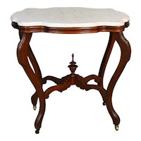 Victorian Dainty  Marble Top Turtle Top Parlor Stand