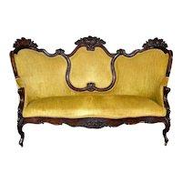 Victorian Unusual Medallion Back Carved Sofa
