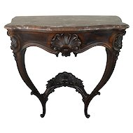 Victorian Rosewood Marble Top Shapely Console