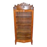 Victorian Oak Serpentine Glass China Closet Cabinet
