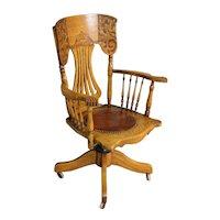 Victorian Oak Press Back Lawyers Office Chair