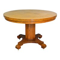Round Oak Empire Style Dining Table