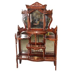 Extraordinary Carved Eastlake Cherry Etagere