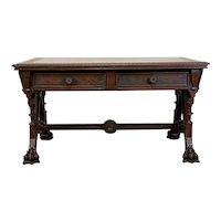 Aesthetic Movement Carved Library Table -Daniel Pabst